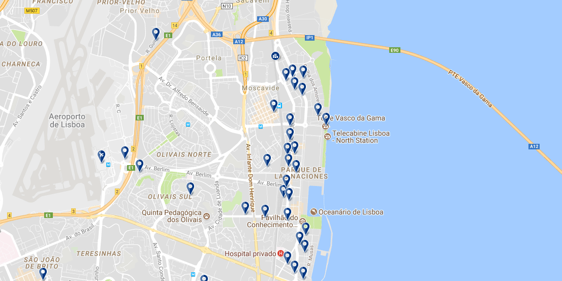 Parque das Nações - Click to see all hotels on a map
