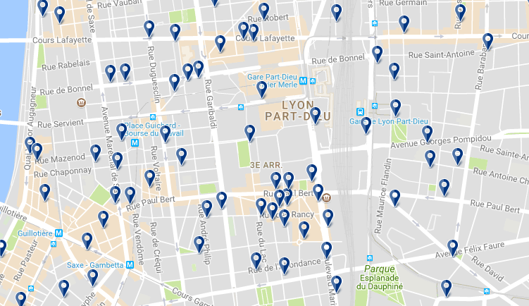3 arr. Lyon - Click to see all hotels on a map