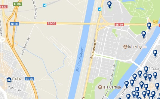 Seville - Isla de la Cartuja - Click to see all hotels on a map