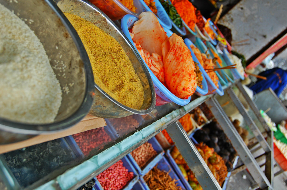 Comida típica en el barrio musulmán de Xi'an