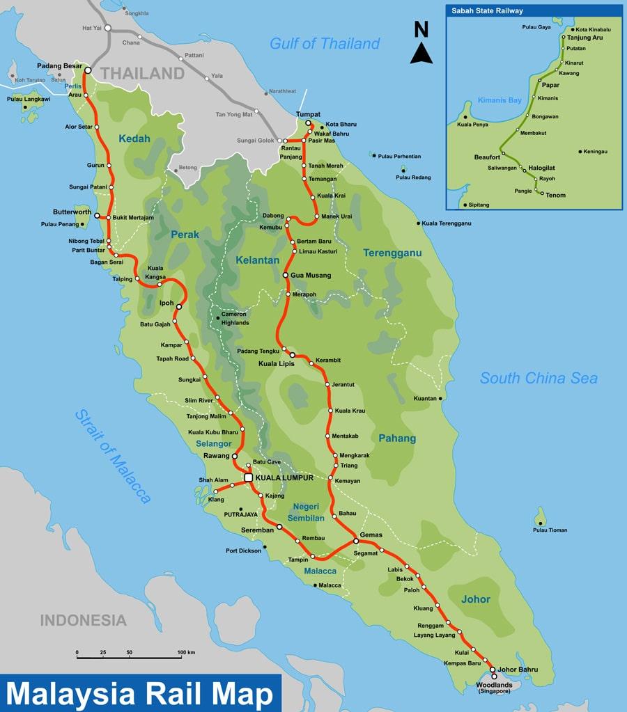 Mapa de líneas de tren en Malasia