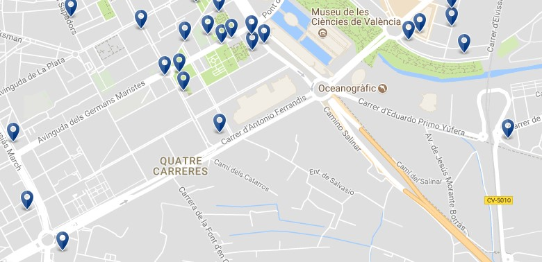 Valencia - Quatre Carreres (Ciudad de las Artes y las Ciencias) - Click to see all hotels on a map