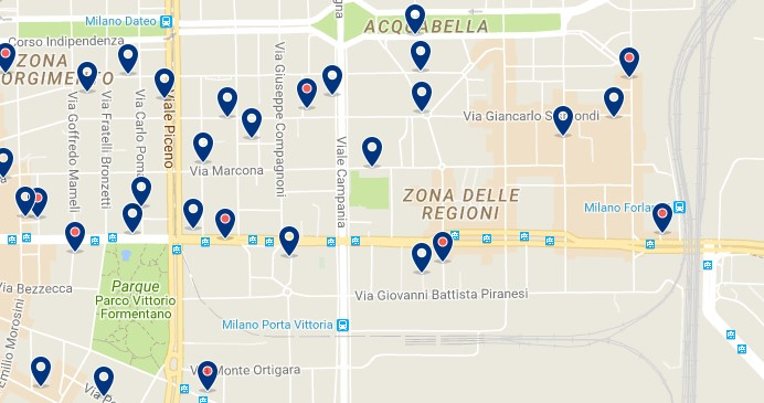 Milano - Porta Vittoria - Click to see all hotels on a map