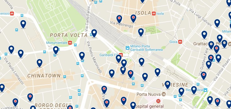 Milano - Stazione Garibaldi - Click to see all hotels on a map