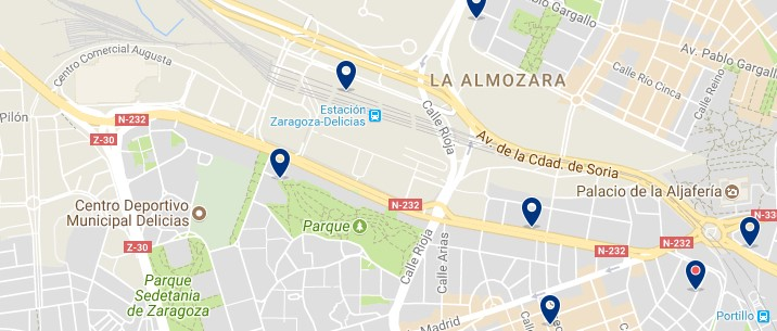 Zaragoza - Delicias - Click to see all hotels on a map