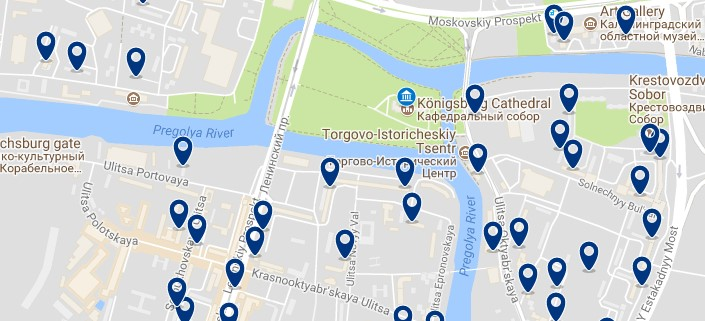 Kaliningrad - City center and Cathedral - Click to see all hotels on a map