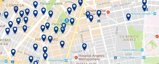 Mexico City - Condesa & Roma Norte - Click here to see all hotels on a map