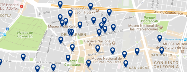Mexico City - Coyoacán - Click here to see all hotels on a map