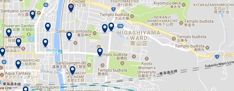 Kyoto - Higashiyama - Click to see all hotels on a map