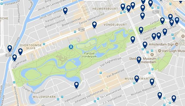 Amsterdam - Museum Quarter & Vondelpark - Click to see all hotels on a map
