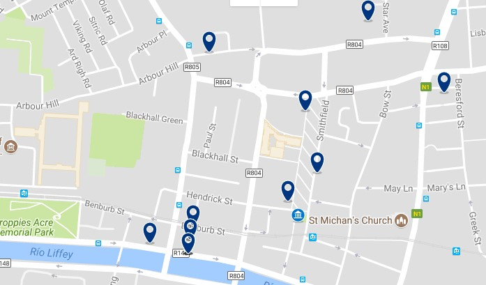 Dublin - Stoneybatter & Smithfield Village - Click to see all hotels on a map