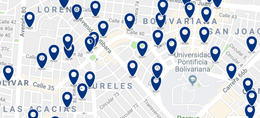 Medellín - Laureles - Click to see all hotels on a map