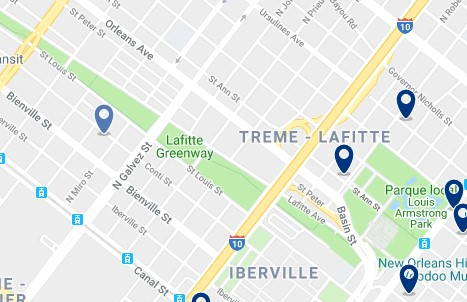 New Orleans - Treme - Lafitte - Click to see all hotels on a map
