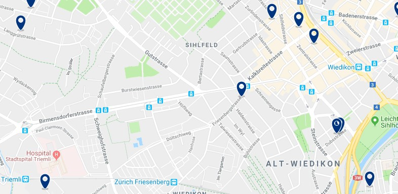 Zürich - Wiedikon & Sihlfeld - Click to see all hotels on a map