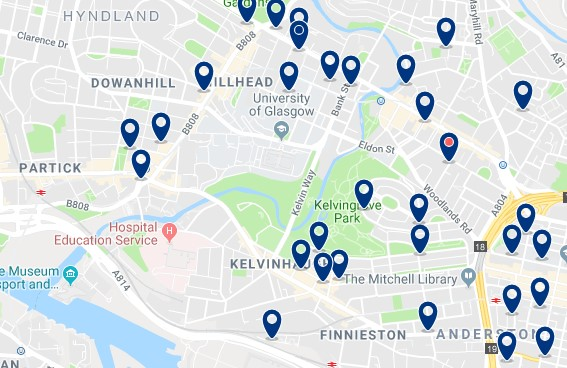 Glasgow - North West - Click to see all hotels on a map