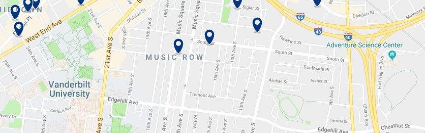 Nashville - Music Row - Click to see all hotels on a map
