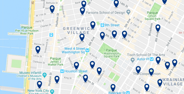 New York - Greenwich Village - Click here to see all hotels on a map