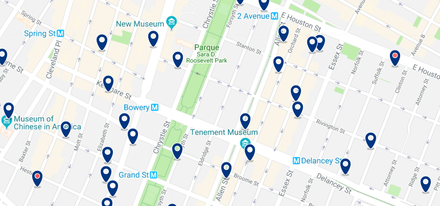 New York - Lower East Side & East Village - Click here to see all hotels on a map