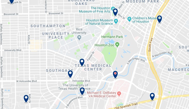 Houston - Museum District - Click here to see all hotels on a map