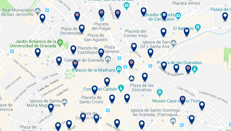 Granada – Old Town – Click to see all hotels on a map