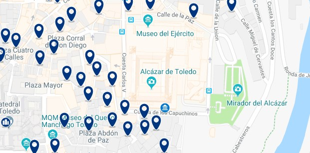 Toledo - Alcazar - Click to see all hotels on a map