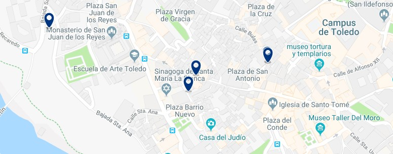 Toledo - Jewish quarter - Best areas to stay in Toledo - Click to see all hotels on a map