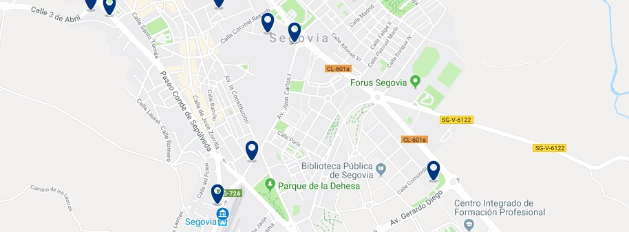 Segovia - Near the train station - Click to see all hotels on a map