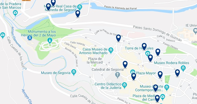 Segovia - Jewish Quarter and the Alcázar area - Click to see all hotels on a map