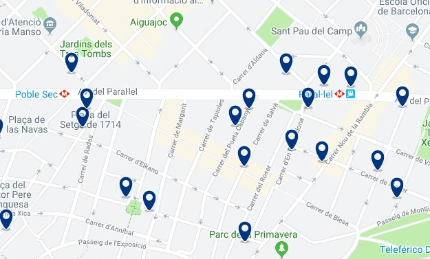 Where to stay in Barcelona for nightlife - Poble Sec - Click here to see all hotels on a map