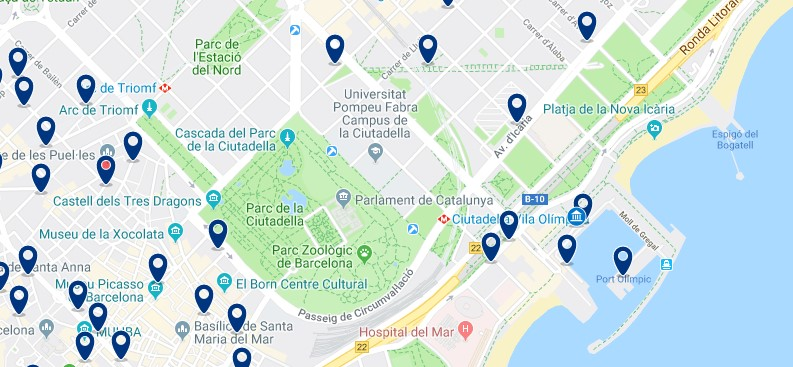 Where to stay in Barcelona for nightlife - Port Olympic - Click here to see all hotels on a map