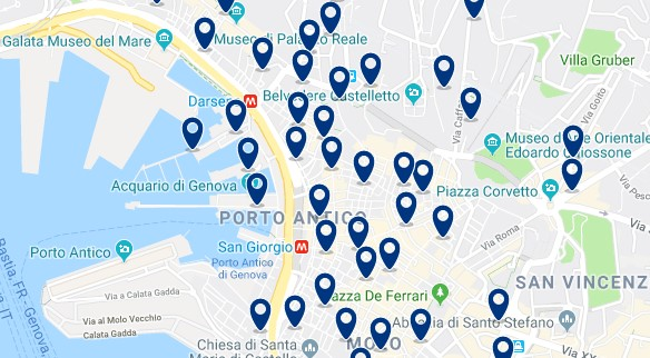Genoa - Old Town and Harbour - Click to see all hotels on a map