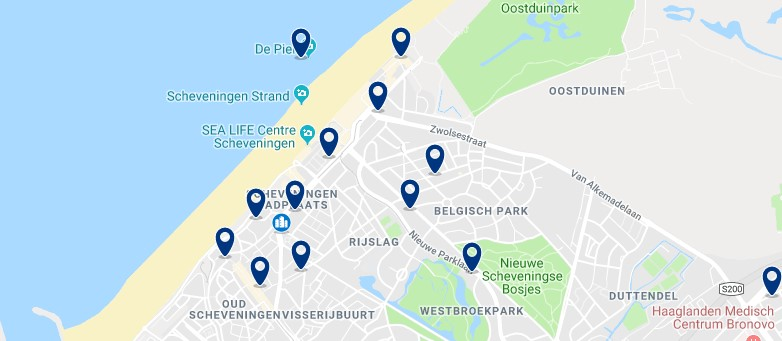 The Hague  - Scheveningen - Click to see all hotels on a map