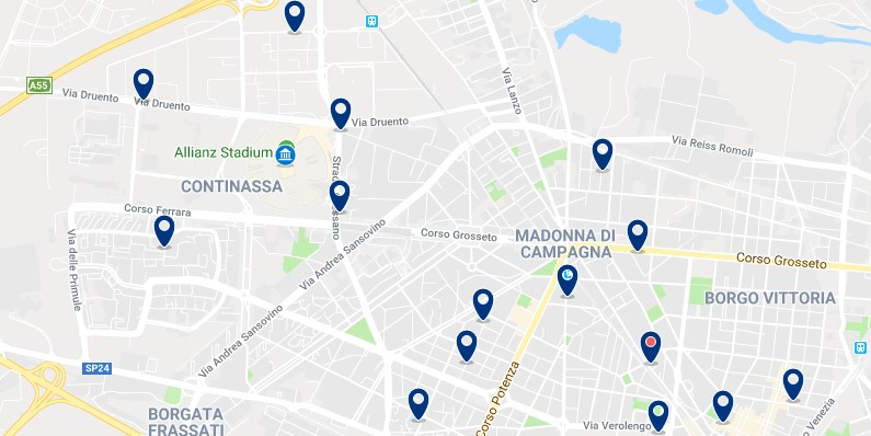 Turin - Near Juventus stadium - Click to see all hotels on a map