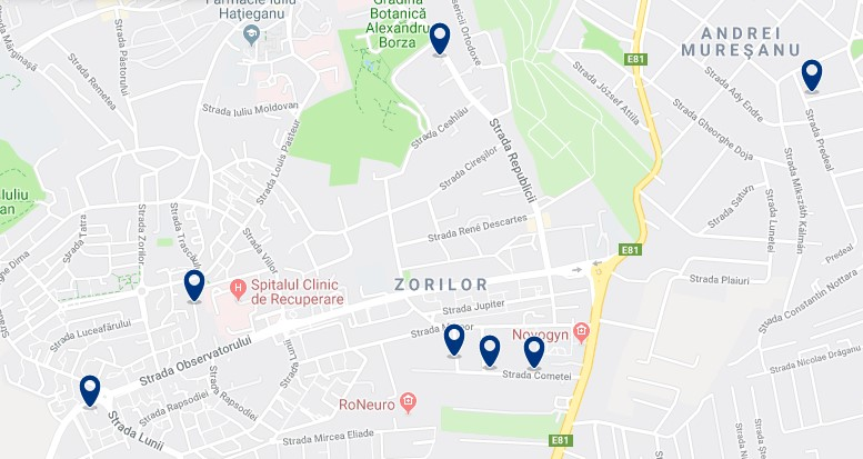 Cluj-Napoca - Zorilor - Click to see all hotels on a map