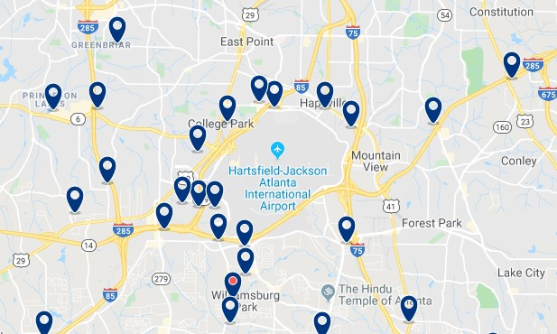 Atlanta - Airport - Click to see all hotels on a map