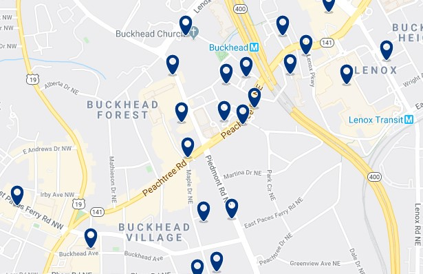Atlanta - Buckhead - Click to see all hotels on a map