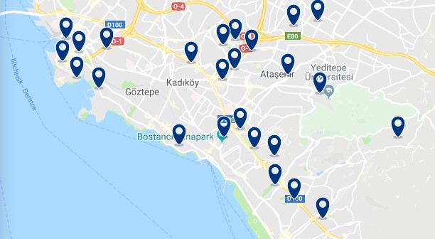 Istanbul - Asian Side - Click to see all hotels on a map