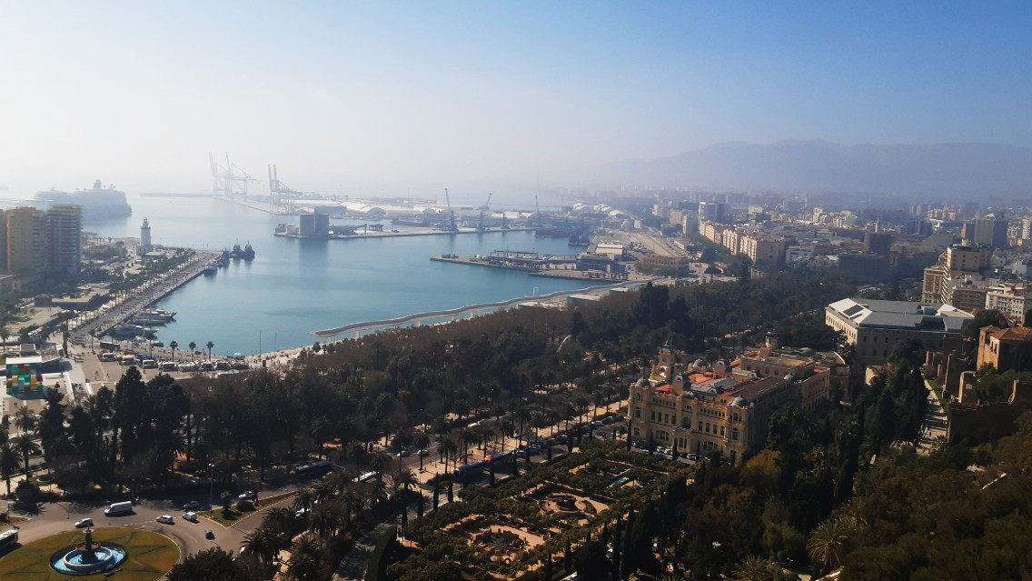 Vistas de Málaga desde el mirador de Gibralfaro