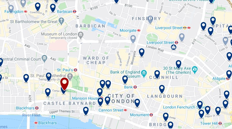 Best areas to stay in London for nightlife - City of London -Click here to see all hotels on a map