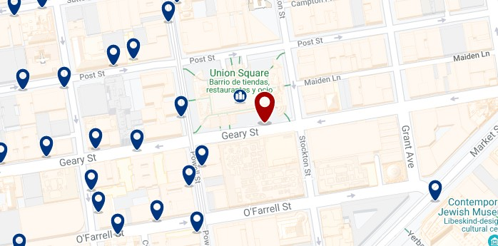San Francisco - Union Square - Haz clic para ver todos los hoteles en un mapa