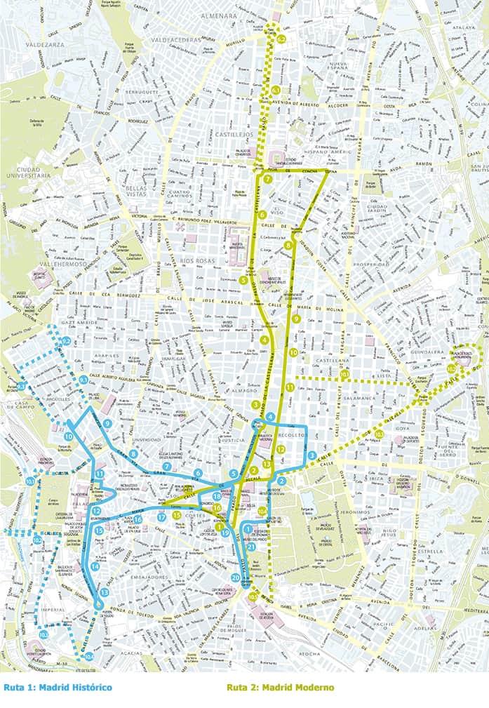 Mapa de las rutas del City Tour Madrid