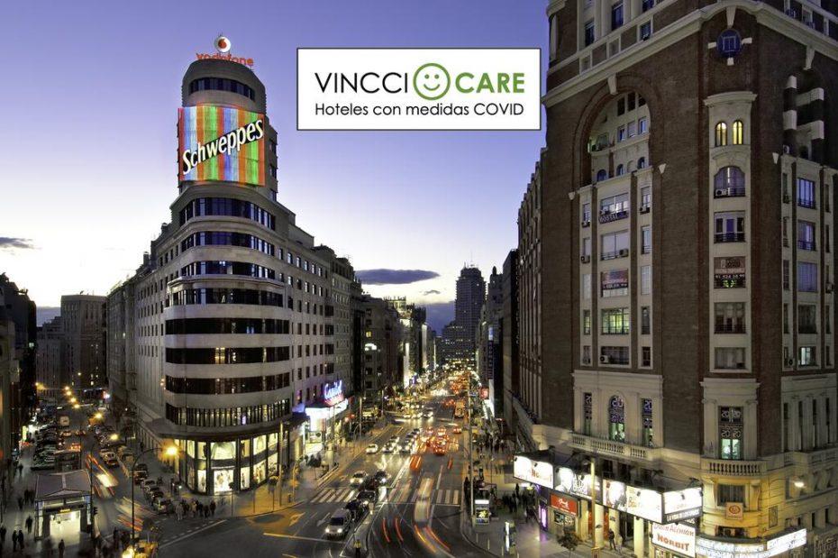 El hotel Vincci Capitol de Madrid hace publicidad de sus medidas COVID en las fotos del establecimiento